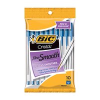 BIC Cristal Xtra Smooth Stic Ballpoint Pen, Blue, 1.0 mm, 10Pk